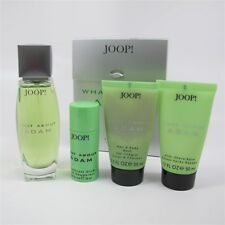 WHAT ABOUT ADAM by JOOP? 4 Pc Set: 2.5 oz EDT Spray, Travel Size Deo, Balm & Gel
