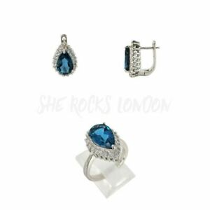 RHODIUM PLATED 925 SILVER RING AND EARRING SET - SAPPHIRE BLUE CUBIC ZIRCONIAS