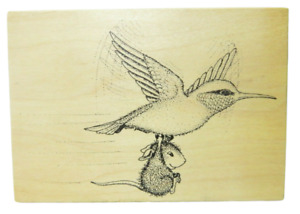 House Mouse Stampa Rosa Hummingbird Express  #43 Bird Flying 1998 Rubber Stamp