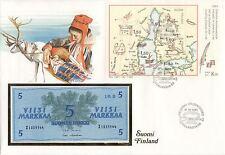 superbe enveloppe FINLANDE FINLAND billet banque 5 M 1963 UNC NEUF TIMBRES