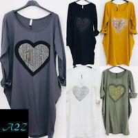 Women Cotton Sequins Heart Tunic T-Shirt Ladies Summer Beach Baggy Dress Boho UK