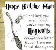 Happy birthday mum Harry potter funny Hogwarts card black and white greeting 1