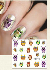 Nagelsticker Fingernägel Aufkleber Tattoo Nail Art Nageldesign Eule YZW 119