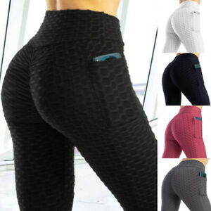 Womens Tik Tok Leggings Gym Pocket Fitness Sports Running Train Yoga Pants