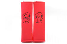 Peanuts Snoopy Embroidery Seat Belt Cover Soft Shoulder Pair Black on Red Pads