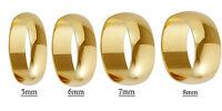 Hallmarked 9ct Yellow Gold D shape wedding rings Z+1 Z+2 Z+3 Z+4 Z+5 Z+6