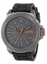 BOSS Orange Men's Gift Watch New York Stainless Steel Silicone Band Mineral Dial