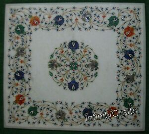24 x 21 Inches Marble Coffee Table Top White Restaurant Table Top Inlay Pattern