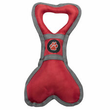 Outdoor Paws Red Grey Bone Tugger Squeaky Toy Dog Puppy Pull Tug Training Play