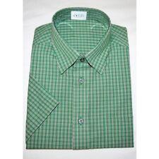 Ex M&S Mens Pure Cotton Short Sleeve Green Check Shirt Size MEDIUM