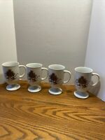 Coffee Mug Pedestal Cups Christmas Holiday Porcelain Tree Duck Ribbon Set Of 4