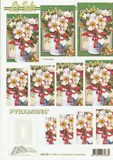 Feuille 3D Pyramides à découper A4 - 630-146 Fleurs de Noël - Decoupage Flowers