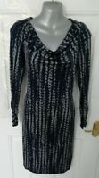 ❤ GHOST LONDON Size 12 (L) Navy Blue Grey Stretchy Wiggle Dress Cowl Lined