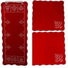 Vintage Handmade Embroidered Red Christmas Table Runner and Napkins 18x43