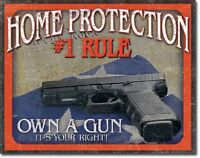 Home Protection #1 Rule Own a Hand Gun Warning Bear Arms Wall Decor Metal Sign