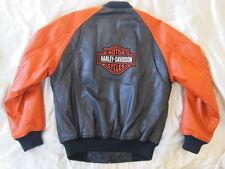 Harley Davidson Leather Jacket Orange Black Bomber Varsity Biker S-M