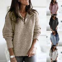 Women Winter Warm Long Sleeve Loose Knit Pullover Sweatshirt Jumper Sweater Top