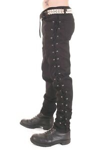 Mens Rock Goth Black Cotton Trousers with Small Eyelets and Laced Sides.