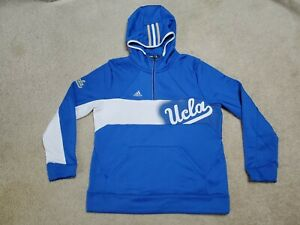 Adidas Climawarm UCLA Tennis Team Issued Blue & White 1/4 Zip Hoodie Men's Large