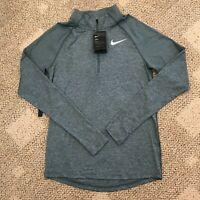 Nike Dry Mens Half 1/2 Zip Long Sleeve Running Shirt Top Green Size Small S