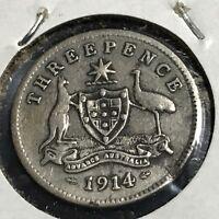 1914 AUSTRALIA SILVER THREE PENCE COIN