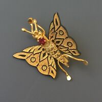 Vintage  damascene Butterfly Brooch in enamel on gold tone metal
