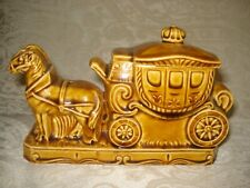 Vintage Made In Germany Pottery Gold Stagecoach Jewelry / Trinket Box With Lid