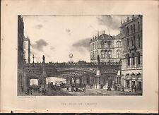 1875 LONDON PRINT ~ THE HOLBORN VIADUCT