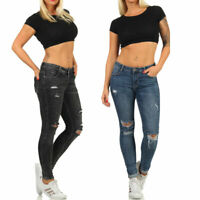Damen Push-Up Jeanshose High-Waist Röhrenjeans Destroyed Skinny Jeans XS S M L