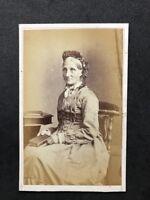 Victorian Carte De Visite CDV: Older Lady: Oliver: Harrogate: Named WOODWARD