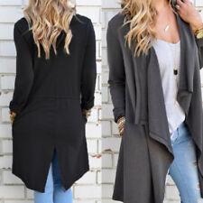 UK 8-24 Women Lapel Open Long Sleeve Tops Cardigan Trench Coats Jackets Outwear