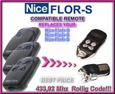 Nice FLO2R-S / Nice FLO4RS compatible télécommande de remplacement 433,92Mhz