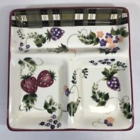 Oneida STRAWBERRY PLAID Divided Platter Plate Serving Tray 13 x 13 x 1 3/4