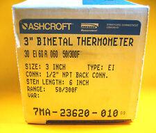 "Ashcroft -  7MA-23620-010 -  3"" Bimetal Thermometer, 1/2"" NPT Back Conn. Stem:6"""