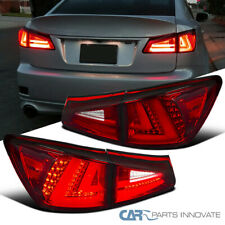 For 06-08 Lexus IS250 IS350 Red Clear Full LED Tail Lights+Rear Trunk Lamps Pair