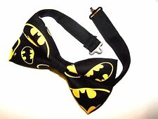 NEW FABRIC BOW TIE With Adjustable Strap * BATMAN * Handmade USA * FREE SHIPPING