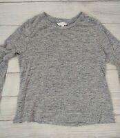 Lauren Conrad Bell Sleeve Pullover Sweater, Heather Gray, Size Medium