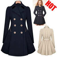 Women Winter Lapel Long Parka Coat Trench Double Breasted Outwear Jacket Fashion