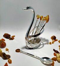 GENUINE TEA OR COFEE SWAN 6  SPOONS SET 100% NATURAL AMBER