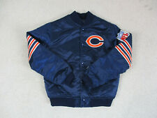 VINTAGE Starter Chicago Bears Jacket Youth Medium Blue Satin Football Kids Boys