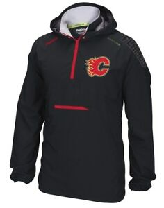 "Calgary Flames Reebok NHL 2016 Center Ice ""Anorak"" Kinetic 1/4 Zip Jacket"