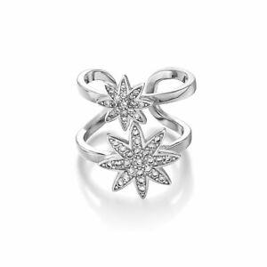 Vixi Nova Silver Double Star Adjustable Ring Ladies Jewellery NOVA-2R.W RRP £85