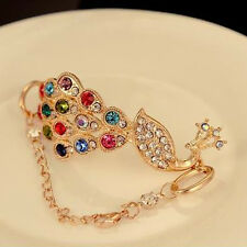 Women's Colorful Bangle Rhinestone Peacock Bird Chain Bracelet Jewelry Utility