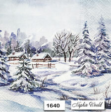 (1640) TWO Individual Paper Luncheon Decoupage Napkins - WINTER SCENE COTTAGE