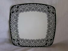 Roscher Luxury Collection French Scroll Black & White Square Salad Plate Dish
