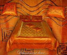 Superbe Parure de lit en Satin orange avec couvre-coussins assortis - CLS4