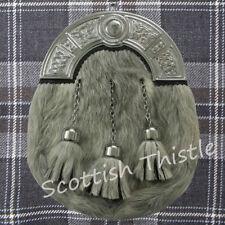 ST Men's Kilt Sporran Full Dress Leather Grey Bovine Celtic Cantle Chrome Finish