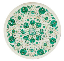 """15"""" White Marble Round Coffee Table Top Malachite Marquetry Inlay Floral Decor"""