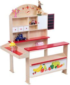 Kinderkaufladen Kaufmannsladen mit Stauraum Schrank Schubladen Einkaufsladen