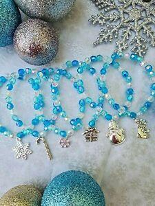 WHOLESALE JEWELLERY 12 BLUE CHRISTMAS CHARM BRACELETS,PARTY BAGS,GIFT,JOBLOT,